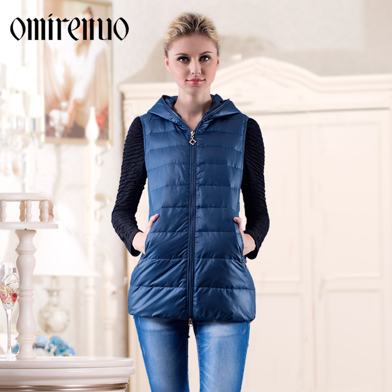 2014 New Winter Warm Hooded Down Jacket Women Long Zipper Hooded Down Vest Free Shipping H2236