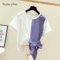 Nancylim Tshirt Female Summer New Korean Fashion Splicing Striped Bow Round Collar Short sleeved T shirt Women's Casual Shirt