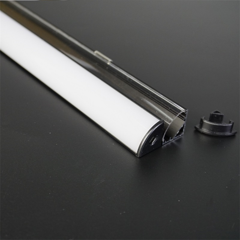 10-40pcs/lot 80 inch 2m black <font><b>V</b></font> shape 45 degree corner aluminum profile for <font><b>12</b></font>/24V <font><b>led</b></font> strip,milky/transparent cover 12mm pcb image