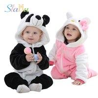 Boys Girls Rompers Soft Flannel Animal Children Jumpsuit Kawaii Warm Boy Girl Toddler Hooded Baby Romper