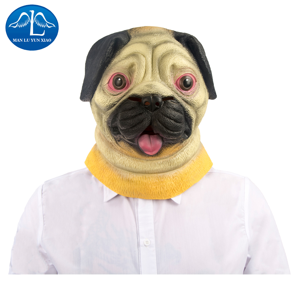 MANLUYUNXIAO Shar Pei Dog Latex Mask Full Face Masquerade Funny Party Mask Halloween Cosplay For Adult Factory Price