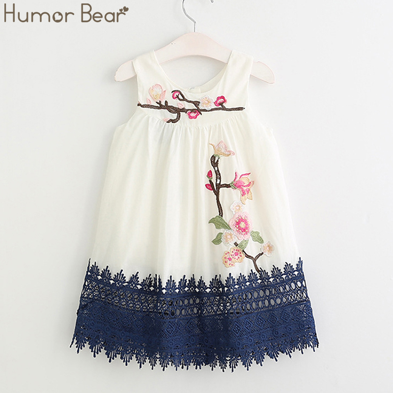 Humor Bear Girls Dresses 2017 Summer Style Girls Clothes Sleeveless Cute Embroidery Design for Child kids Princess Dress humor bear girls dresses brand autumn
