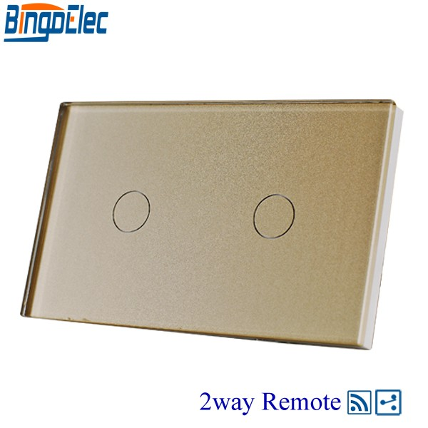 Hot sale AC110-240V Bingoelc Gold Glass Panel 2gang 2way Touch Remote Switch, 433mhz,110-240V,Wall light switch.Good Quality 2017 free shipping smart wall switch crystal glass panel switch us 2 gang remote control touch switch wall light switch for led