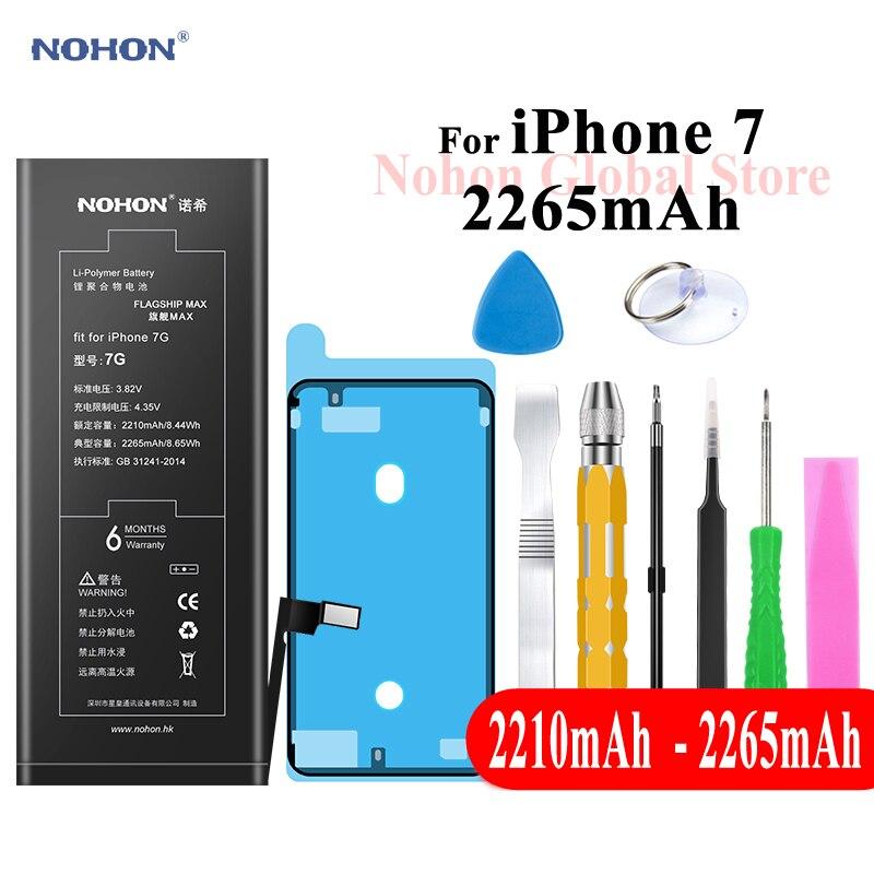 Nohon Batterie Pour Apple iPhone 7 2210 mAh 2265 mAh iPhone7 je Téléphone 7 Batteries 3.82 V Haute Capacité Téléphone Li-polymère Bateria + Outils