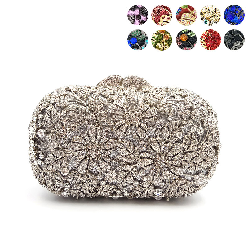 Women evening party bag diamonds elegant crystal clutch luxury bridal wedding party wallet purse handbag flower crystal purses(China)