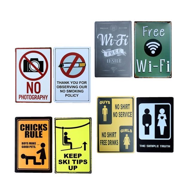 WIFI Free Bar Indicator Vintage Metal Signs Home Decor Vintage Tin Signs  Pub Vintage Decorative Plates