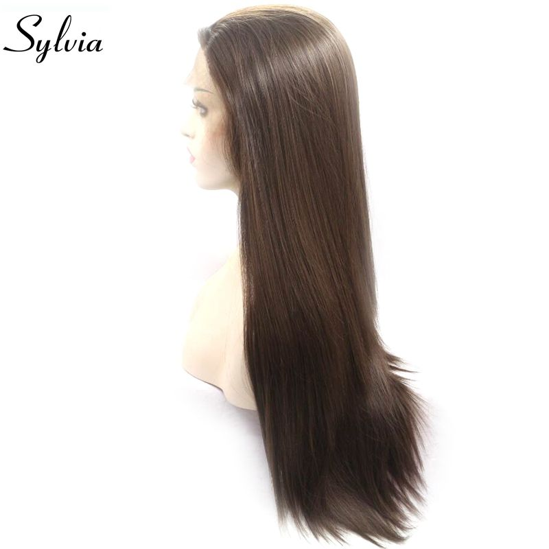 Sylvia Long Silky Straight Wigs Brown Synthetic Lace Front Wig Heat Resistant Fiber Hair Side Part