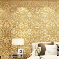 European Luxury Damascus Glitter 3D Embossed Flocking Non woven Room Wallpaper Metallic Floral Textured Mural Wall Paper Roll 3D