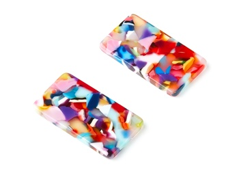 Acetate Acrylic Earring - Rectangle Pendant With 1 Hole Earring - Jewelry accessories - 6pcs/lot - 33.73x19.46x2.65mm - AC1217 image