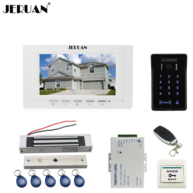 JERUAN white 7`` LCD Video Intercom Video Door Phone System new RFID Access Waterproof Touch key Camera+Remote control Unlocked jeruan new 7 video intercom entry door phone system 1monitor 700tvl touch key waterproof rfid access camera remote control