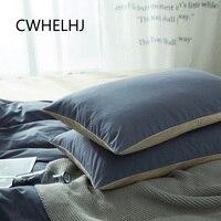2pcs Cotton Pillowcase Nordic Simple Rectangle Bedroom Sleeping Pillow Case Long Section Double Color Pillow Cover