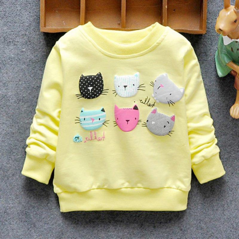Baby Kids Autum Hoodies Cartoon Cat Long Sleeve Pull Top Jacket Hoody