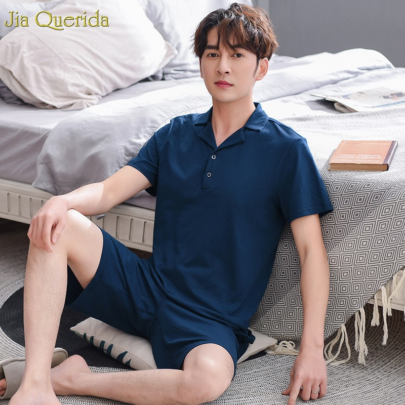 Sleep Suit Men 2019 Summer Fashion Sleepwear Men 100% Cotton Pajama Men Set Short Sleeves Lapel Solid Navy Pyjamas Men Summer