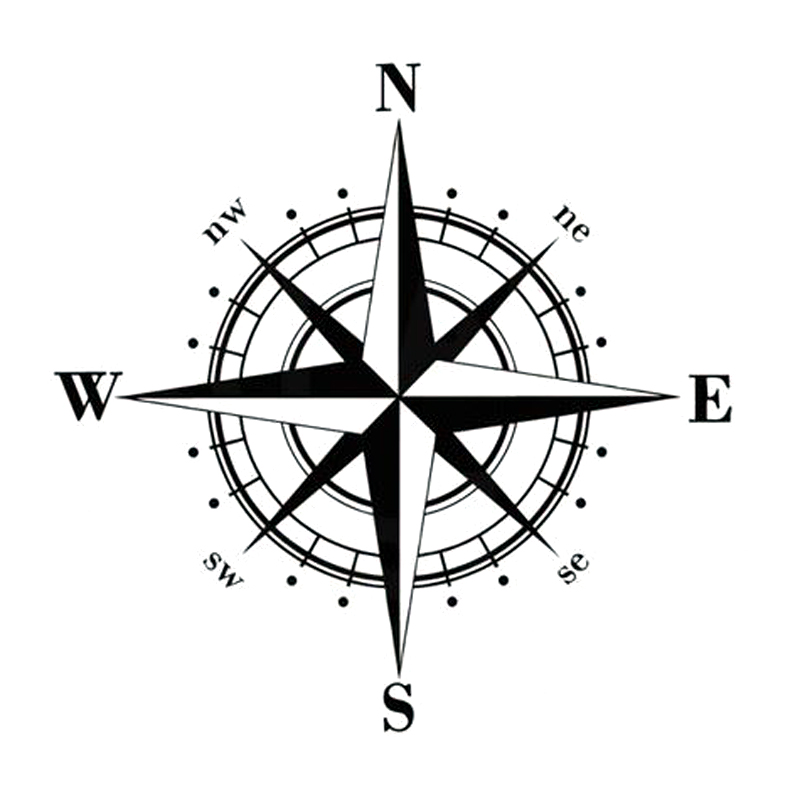 YJZT 15cm*15cm Art Design Vinyl NSWE Compass Car Stickers Decals Black/Silver S6-3505