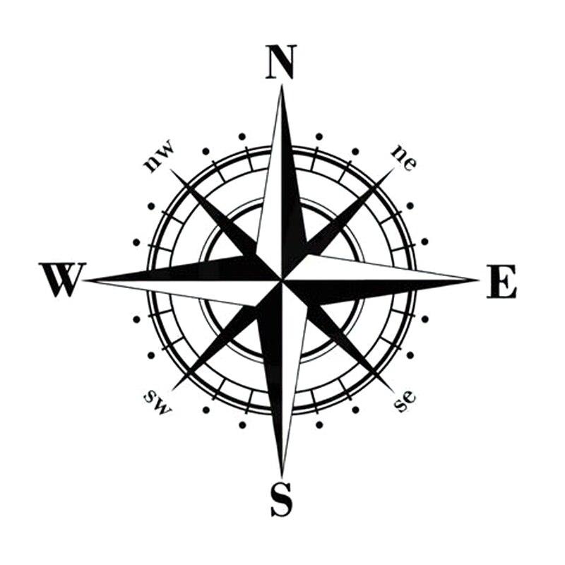 15cm*15cm Art Design Vinyl Compass Car Stickers Decals Black/Silver S6-3505 Переносные часы