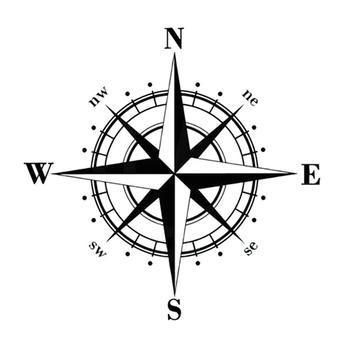 15cm * 15cm artystyczny design Vinyl NSWE kompas samochodowy naklejki kalkomanie czarny srebrny S6-3505 tanie i dobre opinie YJZT Całego ciała cartoon Klej naklejki Nie pakowane Karoserii Black Silver Car Sticker