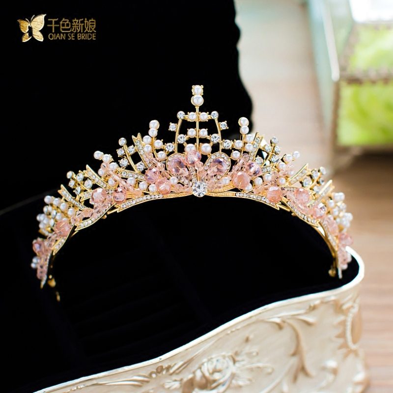 Women royal pink crown crystal wedding tiaras queen party rhinestone bridal luxurious crown wedding hair accessories nanshuang
