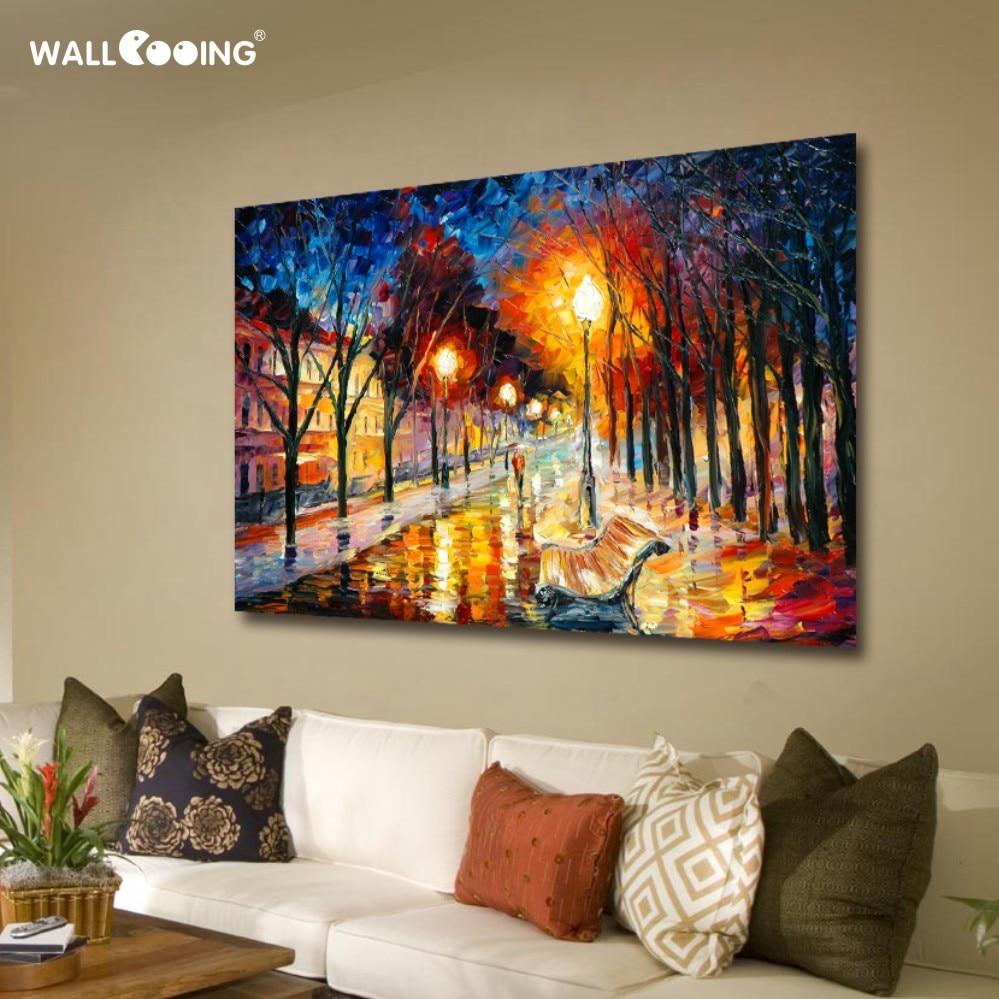 100% ručně malované plátno malba krajina olejomalba města ulice obrázky monopol nočních pouličních umělců palety nože