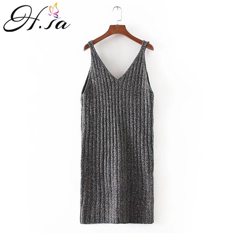 H.SA Womens Autumn Dress 2017 Sleeveless Knit Dresses High Elastic Slim Sweater Dress Knee Length Robe Elegant Winter Vestidost