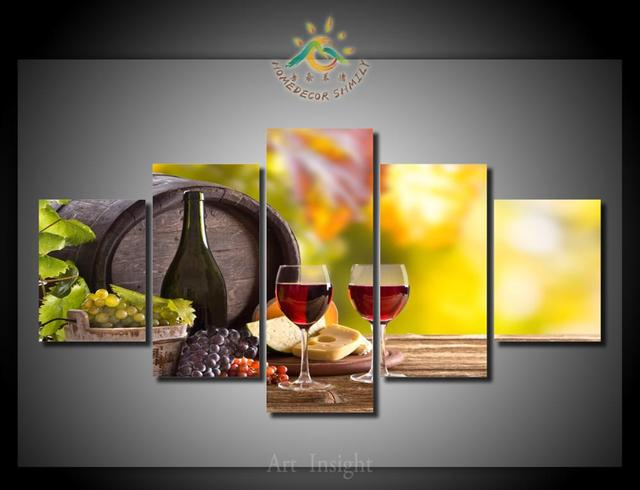 5 Pieces/set Wine Canvas Wall Art Paintings Picture Print On Canvas For  Home Decoration