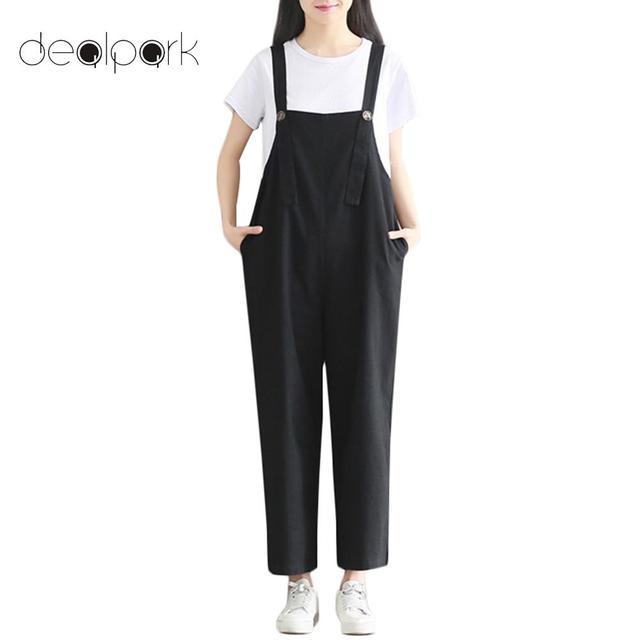 d0495d12ea894 3XL Plus Size dungarees Cotton Linen Jumpsuit for Women Rompers Loose Suspender  Trousers Pockets Oversized Overalls Casual Pants