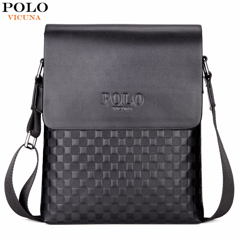 VICUNA POLO Classic Plaid Design Business Man Bag Vintage Brand Mens Messenger Bag Casual Grid Shoulder Bag For Male bolsa Hot new casual business leather mens messenger bag hot sell famous brand design leather men bag vintage fashion mens cross body bag