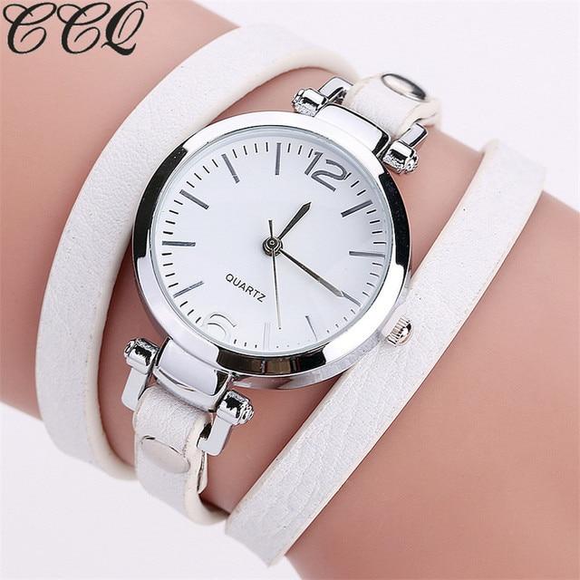 Hot Selling CCQ Brand Fashion Luxury Leather Bracelet Watch Ladies Quartz Watch
