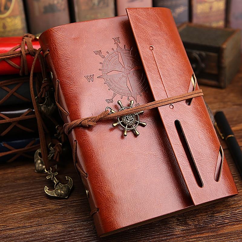2017 Vintage Pirát A5 Deník Notebook Agenda s faux koženým obalem - Bloky a záznamní knihy - Fotografie 3