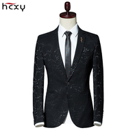 2019 New fashion Men's blazers luxury casual clothing vintage wedding groom suit Men Floral Blazer jaqueta mascul