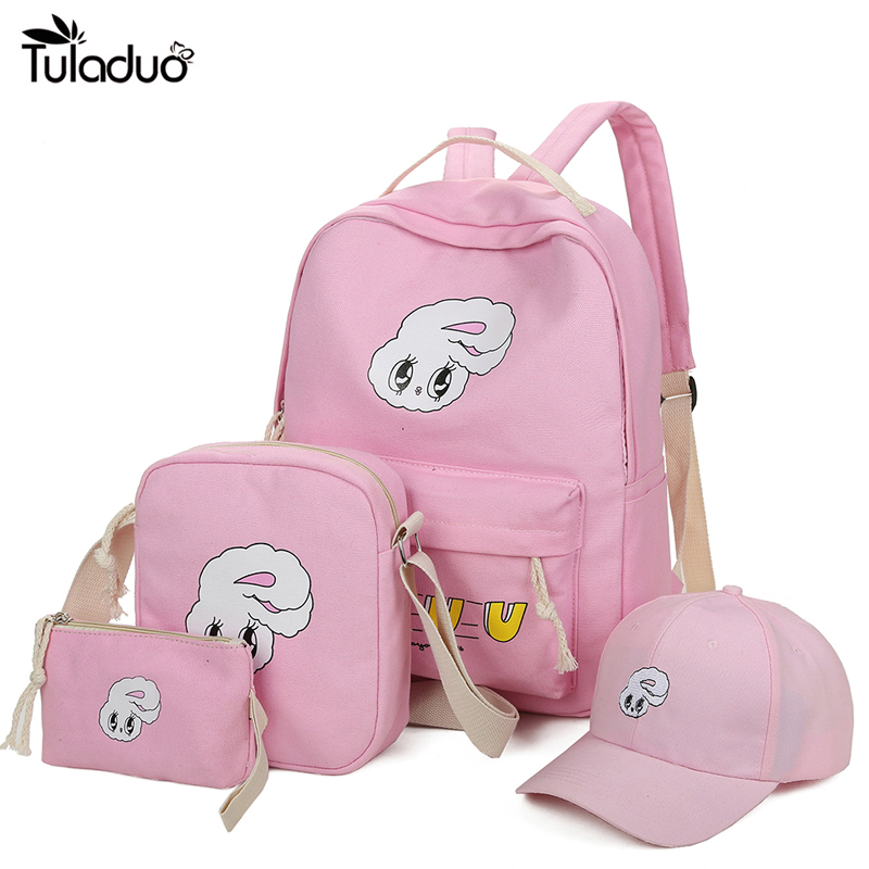 4cc78a2c65c9 4Pcs Sets Girls Backpacks Cartoon Rabbit Printing School Backpack Cute  Canvas Schoolbags for Teenage Women Students Bag Children