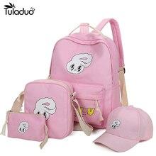 4 шт./компл. девушки рюкзаки с рисунком кролика школьный рюкзак милые Холст ранцы для подростков студенток мешок детей