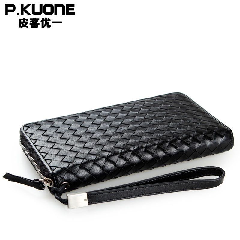 P.KUONE Famous Luxury Brand High Quality Bag Top Genuine Leather Men Long Wallet 2018 fashion Purse New Designer Evening Handbag цена 2017