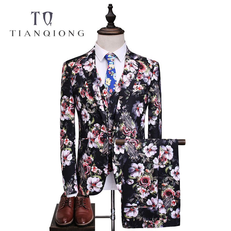 TIAN QIONG 3 Pec Suit Men 2018 Luxury Brand Wedding Suits For Men High Quality Tuxedos Flowers Print Male Suits Prom Stage Wear