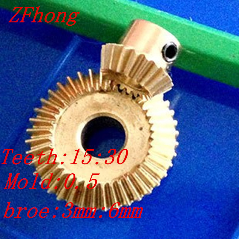 A pair 1:2 brass Bevel Gear 15 teeth to 30 teeth Brass Right Angle Transmission parts machine parts DIY v420h2 xle1 v420h2 xre1 lcd pcb parts a pair