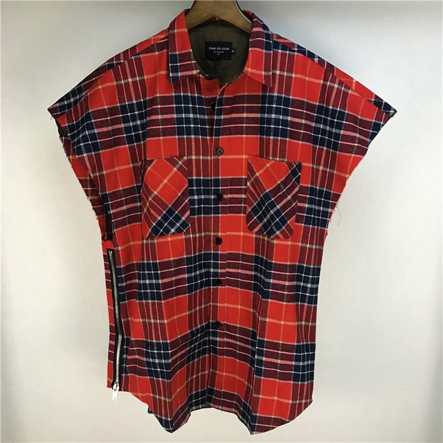 df4c9a329486 Hiphop Sleeveless Plaid Flannel Shirt Justin Bieber Zipped Side Slits  Ripped Armholes Muscle shirts Red/