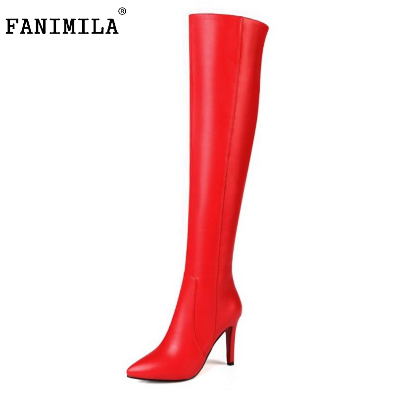 ФОТО Women Pointed Toe Over Knee Boots Sexy Woman Thin Heel Shoes High Quality Ladies Autumn Winter Long Bootines Mujer Size 33-43