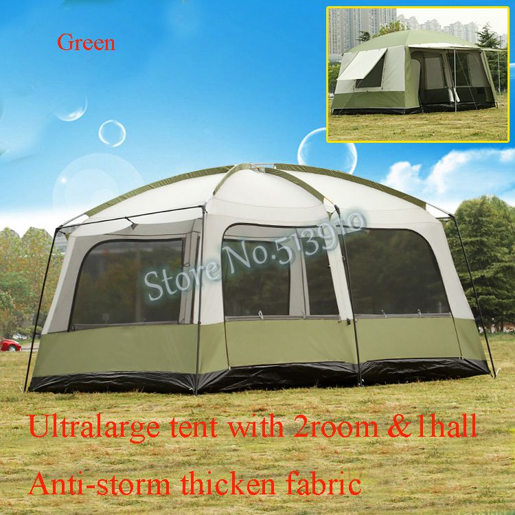 Ultralarge 6 10 12 double layer outdoor 2living rooms and 1hall family camping tent anti big rain with thicken fabric multiple high quality outdoor 2 person camping tent double layer aluminum rod ultralight tent with snow skirt oneroad windsnow 2 plus