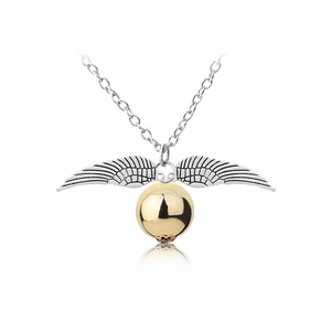 Image 5 - 24 Pcs/Lot Magician School Angel Wings The Seeker Charm Quidditch Golden Snitch Pendent Necklace Jewelry Bulk Wholesale