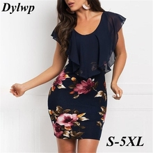 2019 Summer Women Flower Printed Party Dress Ruffle Sleeve Mini Dresses Simple Chiffon Splice Slim-Fit Dress Plus Size S-5XL ruffle trim bowknot plus size printed dress