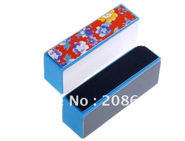 Nail File Freeshipping Nail Art Red Flower Nail Buffer Polish Tool 4Way Shiner Buffer Block Nail Buffing Sanding Block 20pcs/Set