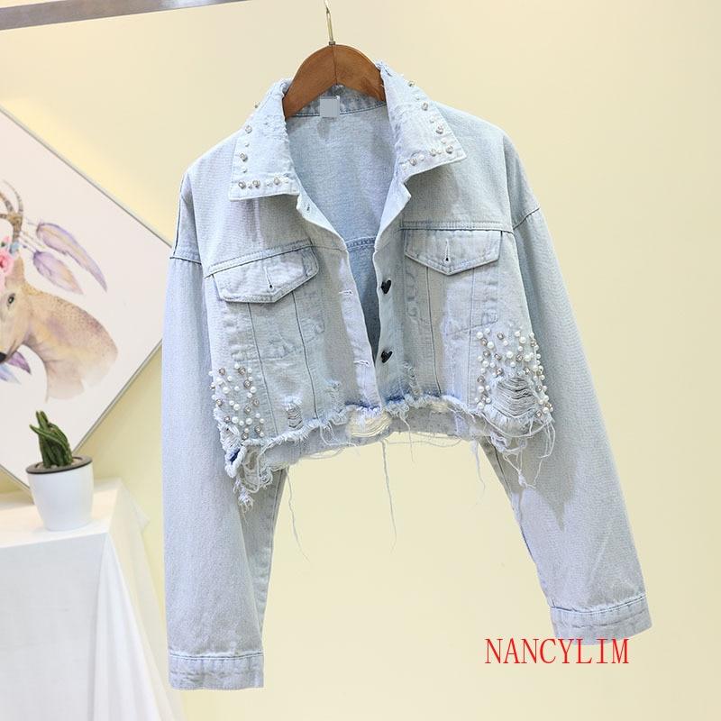 Harajuku Light Color Short Denim Jacket Women 2020 Autumn New Loose Beaded Hole Cowboy Coat Outwear Ladies High Street Jean Coat