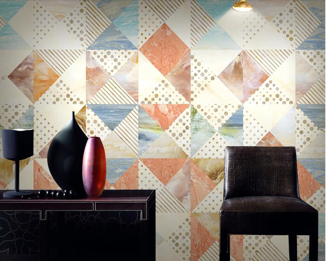 Papel De Parede Marbled Modern Geometric Tile Mosaic Wallpaper