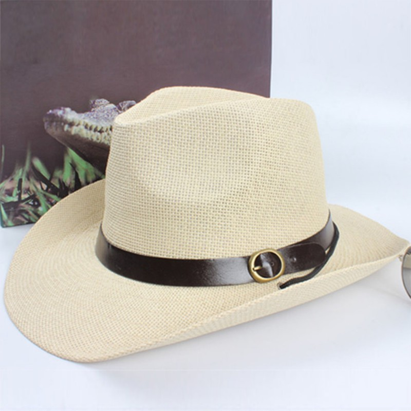 Summer Fashion New <font><b>Unisex</b></font> Women Cap Men <font><b>Cowboy</b></font> Trilby <font><b>Hat</b></font> Wide Brim Straw Sun Uv Protection <font><b>Hat</b></font> One Size Cap image