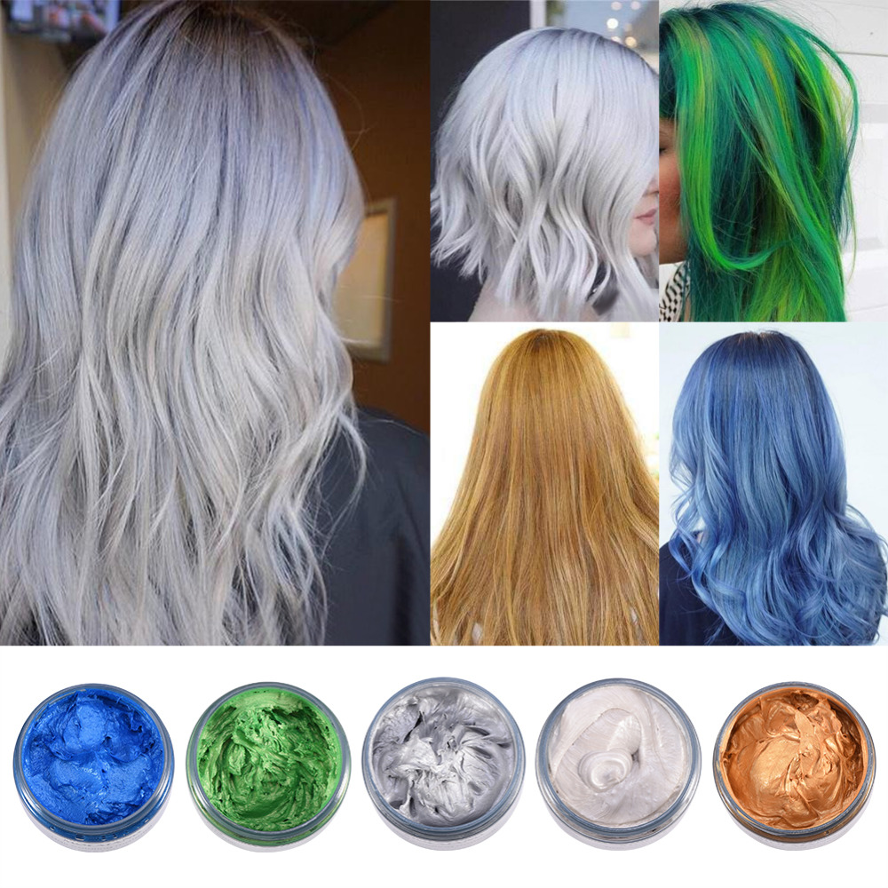 MOFAJANG 120ML Unisex Hair Color Mud Wax Dye Molding Paste Grandma Gray Color Temporary Hair Coloring Wax Cream Styling Tools