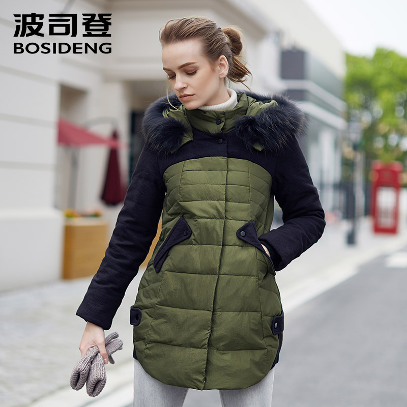 BOSIDENG women's clothing winter   down     coat   thick   coat   fur collar hoodie plus size thick outwear clearance sale B1401252