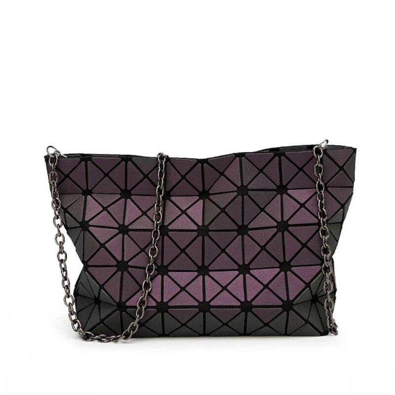 b8e1fe70e8b1 2016 Famous Brands Women BaoBao Bag Geometry Sequins Mirror Saser Plain  Folding shoulder Bags Chain Luminous