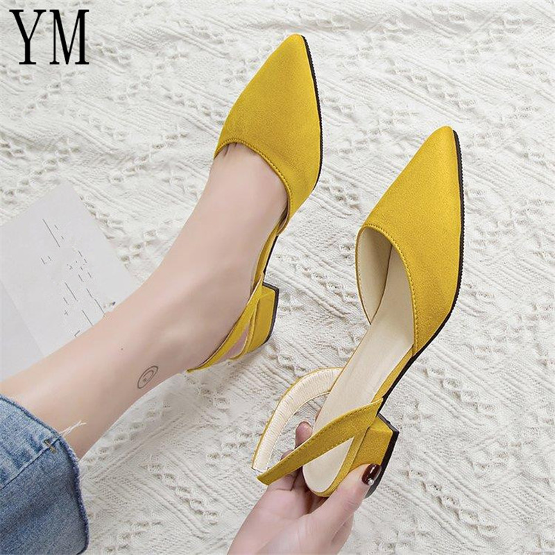 Hot Sandalia Feminina Short Heel With Low Heel High Heel Pointed Shallow Mouth Suede Sandals Women Word Buckle Single Shoes 2019