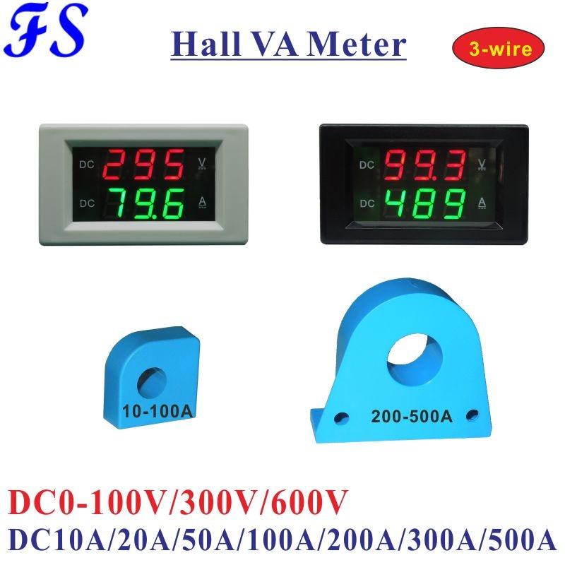 Вольтметр-Амперметр YB4835HVA Hall, амперметр 0-100 в, 300 В, 600 В постоянного тока, амперметр 20A, 50A, 100A, 200A, 300A, 500A, трехпроводной тестер панели вольт и амп...