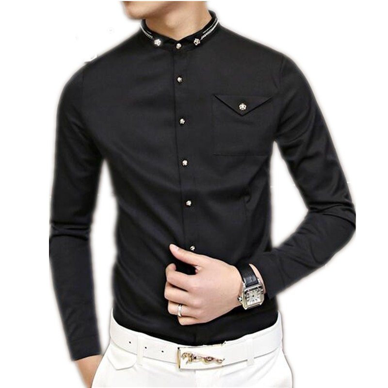 895ba0eb9c74 fashion man's slim fit shirt long sleeve banquet formal wear handsome black  man top clothing Business attire-in Dress Shirts from Men's Clothing on ...