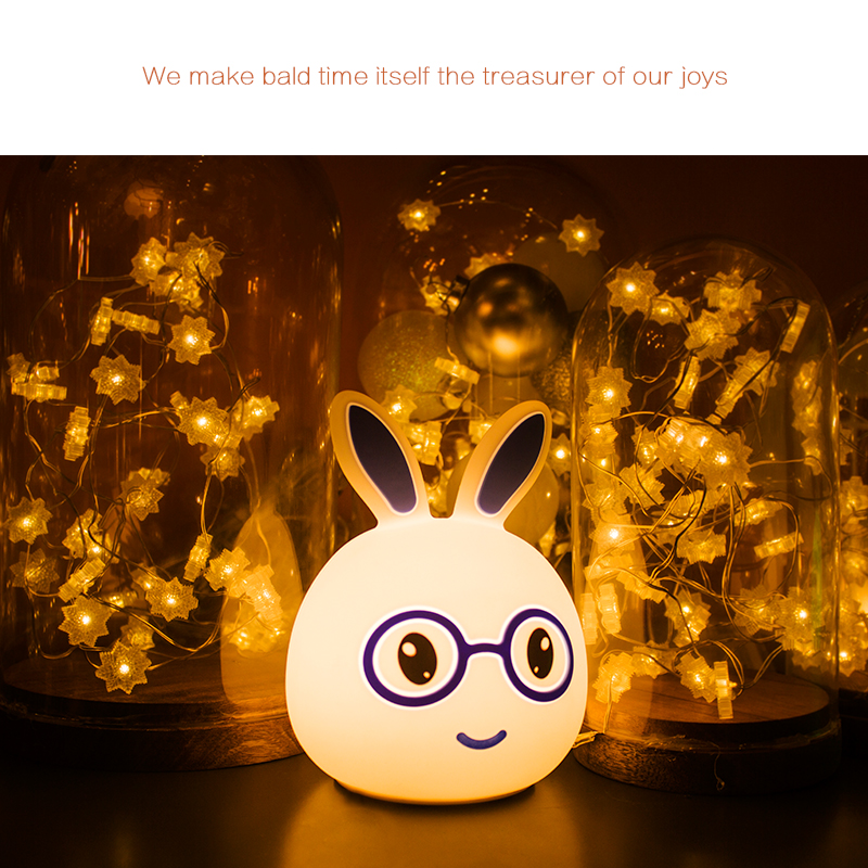 Cute Rabbit LED Night Light Lamp Multicolor USB Rechargeable Touch Sensor Control Night light Christmas Birthday Gifts Factory